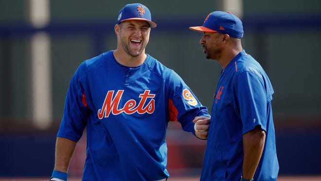 Tim Tebow is playing with the New York Mets in spring training before heading to single-A Columbia in early April.