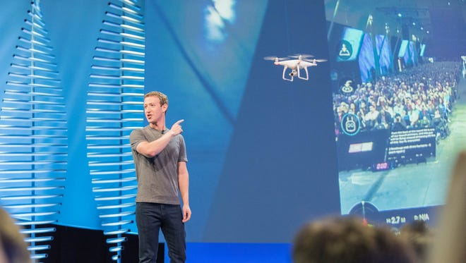 Facebook co-founder Mark Zuckerberg shows how developers can bring Facebook Live to other products, like drones at F8 conference.