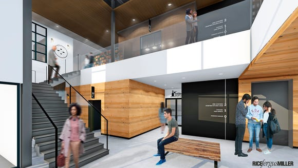 A conceptual rendering of the Work.Eat.Drink lobby.