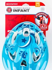 Infant bicycle helmet with no-pinch buckle chin straps