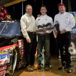 Bass Pro Shops founder Johnny Morris, driver Austin Dillion and owner Richard Childress with NASCAR truck number 3 at the unveiling of the new vehicle Tuesday February 2, 2010 at Bass Pro Shops in Springfield, Mo. Bob Linder/The News-Leader