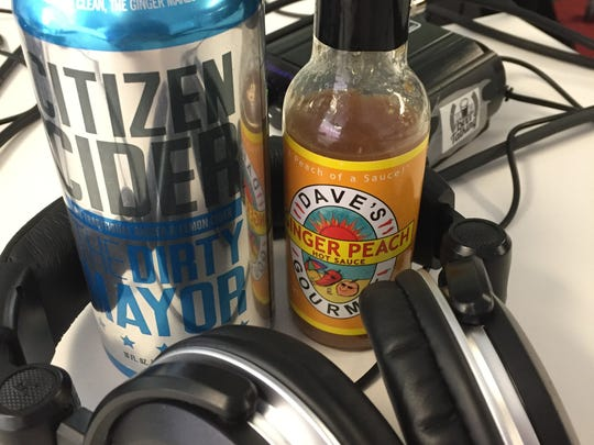 Citizen Cider's The Dirty Mayor and Dave's Gourmet Ginger Peach Hot Sauce go well together.