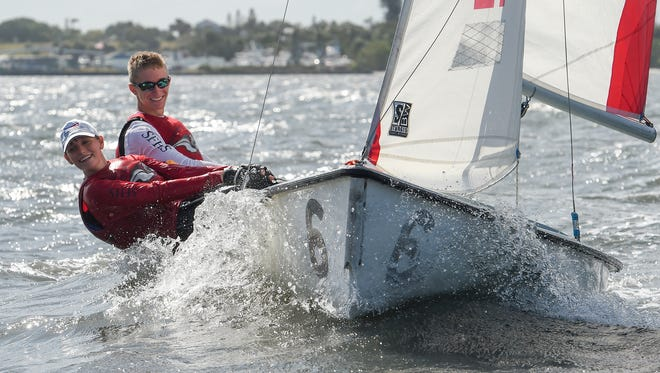 South Fork High School sailing team members Emma Barska and Trevor Bornarth tack upwind Friday, Mar. 30, 2018, during a practice near Indian Riverside Park in Jensen Beach. The team has qualified to compete in the Interscholastic Sailing Association Mallory Doublehanded Championship which will be held May 11-13, 2018, in Seabrook, Texas. To see more photos, go to TCPalm.com.