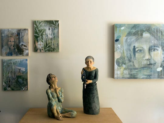 Marga McBride's ceramics studio features some of her creations.