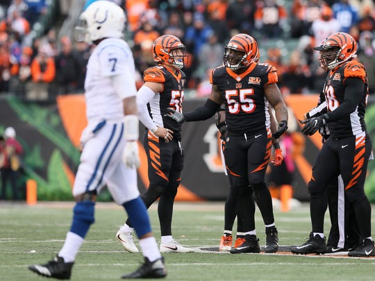Cincinnati Bengals outside linebacker Vontaze Burfict (55) gestures toward an official in the fourth quarter during the Week 8 NFL game between the Indianapolis Colts and Cincinnati Bengals, Sunday, Oct. 29, 2017, at Paul Brown Stadium in Cincinnati.