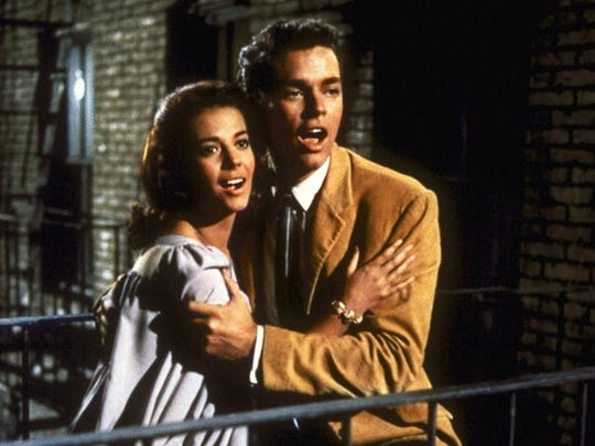 "Natalie Wood and Richard Beymer in the 1961 film adaptation of ""West Side Story."""