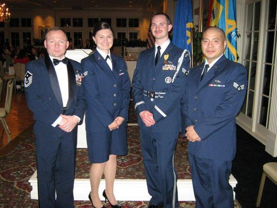 Joann Kurcan, second from left, joined the Reserve Officers' Training Corps, ROTC, when she was in high school, then served in the National Guard.