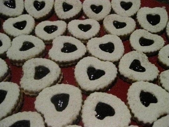 Linzer cookies with a chocolate and jam filling.