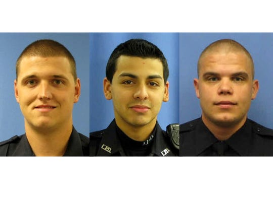In these undated photos provided by the Linden, N.J. Police Department, Police Officers Frank Viggiano, left, 28, Pedro Abad, 27, and Patrik Kudlac, 23, were involved in a fatal motor vehicle accident in the early morning hours of Friday, March 20, 2015 on New York's Staten Island. Viggiano was killed, Kudlac and Abad, the driver, are in critical condition. (AP Photo/Linden N.J. Police Department)