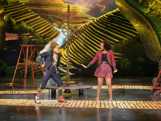 "THE WIZ LIVE! -- Pictured: Rehearsing for Thursday's ""The Wiz Live!"" is Elijah Kelley as Scarecrow and Rahway's Shanice Williams as Dorothy."
