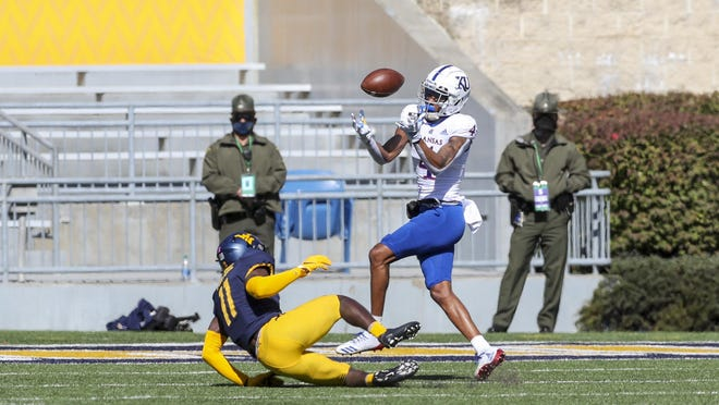 Kansas wide receiver Andrew Parchment catches a tipped pass for a touchdown during last Saturday's game against West Virginia in Morgantown, W.Va. Parchment finished with six catches for 65 yards in the Jayhawks' 38-17 defeat.