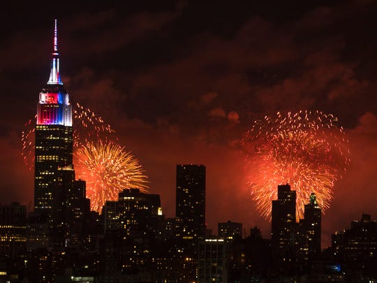 The annual Macy's fireworks show is seen over Manhattan