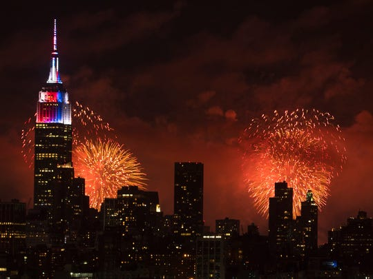 The annual Macy's fireworks show is seen over Manhattan on July 4, 2017.