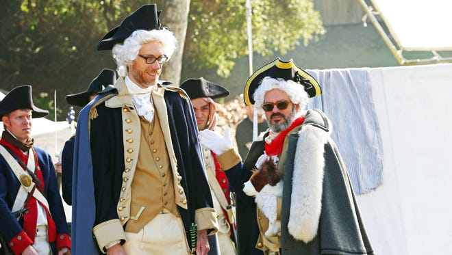 Stephen Merchant as George Washington, left, and David Cross as Baron von Steuben.