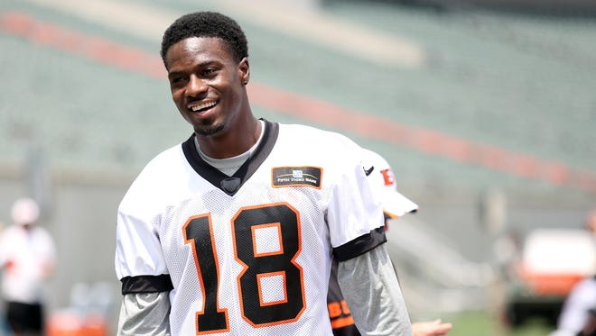 A.J. Green walks off the field after Tuesday's organized team activities at Paul Brown Stadium.
