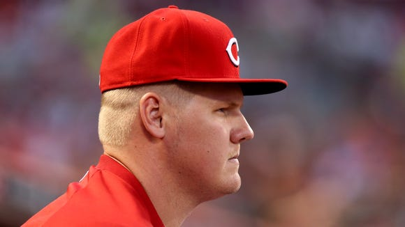 Mat Latos, who has yet to pitch for the Reds this season, threw his fastball, slider and change-up during the session.