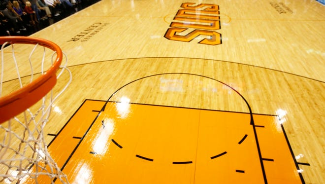 The Suns court and basket at US Airways Center in Phoenix.