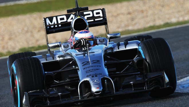 Jenson Button of Great Britain and McLaren drives the new MP4-29 during day two of Formula One Winter Testing at the Circuito de Jerez in Jerez de la Frontera, Spain.