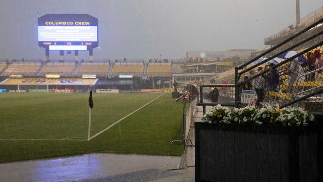 A general view of Columbus Crew stadium in a severe weather delay before the match between the Columbus Crew and FC Dallas at Crew Stadium.