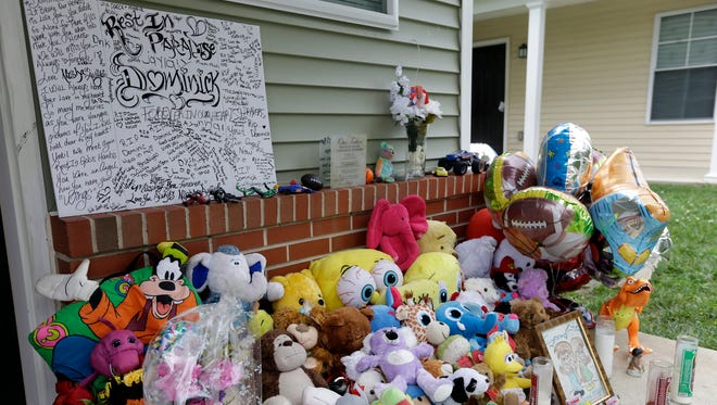 A makeshift memorial for the slain Dominick Andujar sets on his front porch, Tuesday, Sept. 4, 2012, in Camden, N.J.  Osvaldo Rivera, 31, was convicted of killing 6-year-old Andujar, who was protecting his  sister from sexual assault.