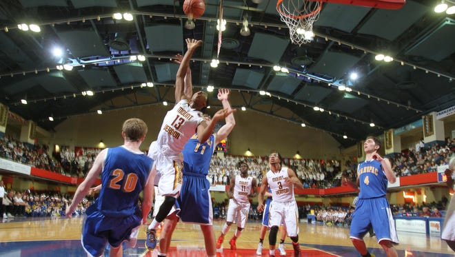 Mount Vernon defeated Mahopac 43-40 to win a Class AA boys basketball semifinal game at the Westchester County Center in White Plains Feb. 27.