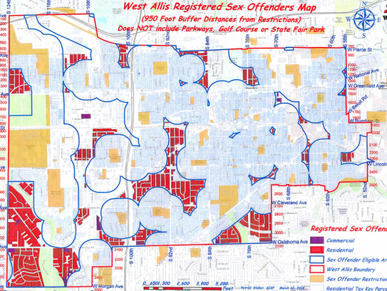 Due to recent court decisions, West Allis recently approved smaller buffer zones around such things as schools, parks and playgrounds, thereby making more of the city available for registered child sex offenders to live. The red portions of the map are where offenders can live. The yellow areas are places where children go and what might be described as the puffy areas around them are the 950-foot buffers where child sex offenders cannot live. Areas outside the buffer zones but not colored red are commercial or manufacturing areas.