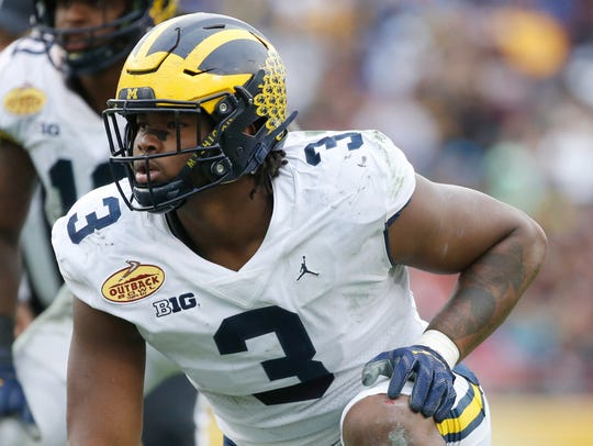 Michigan Wolverines defensive lineman Rashan Gary (3)