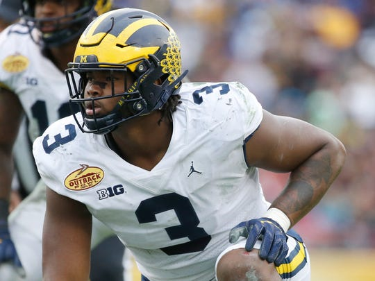Michigan Wolverines defensive lineman Rashan Gary (3) during the second half of the 2018 Outback Bowl at Raymond James Stadium.