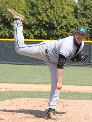 Mason freshman pitcher Nick Northcut held Badin to one run before he exited the game in a 12-5 win April 4, 2015.