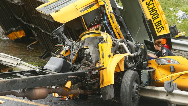 A serious accident involving a Paramus school bus has shut down all lanes on Route 80, west of Exit 25, in Mount Olive on May 17, 2018.