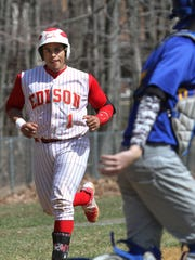 Edison's Lenin Gomez heads for home after hitting a second two run homer. This is action of a GMC baseball game between Edison and North Brunswick at North Brunswick.