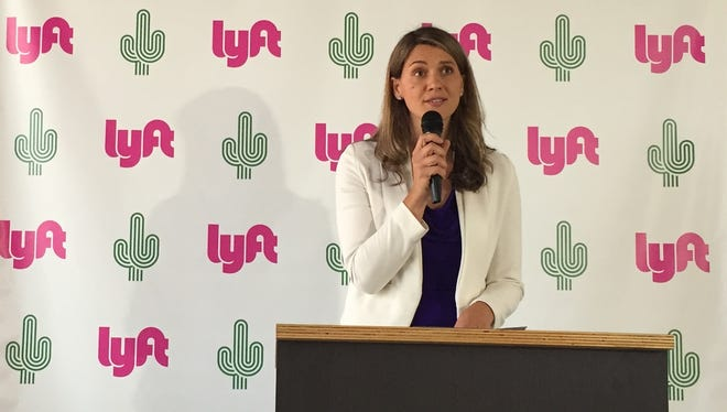 Lyft has opened a service center in Phoenix, announced Drena Kusari, the company's Southwest region manager, at a news conference on June 22, 2017.