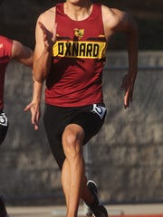 Oxnard High's Chase Wells wins the boys 400-meter dash at the Ventura County Track and Field Championships on Friday at Moorpark High.