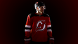 Taylor Hall sports the new Devils home jersey.