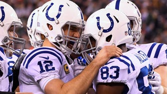 Colts QB Andrew Luck and TE Dwayne Allen (83) hooked up for three TDs Monday night.