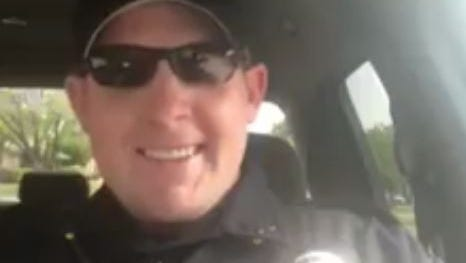 """Charles """"Blue"""" Flores, an officer with the San Angelo Police Department, filmed a video lip-synching to Maroon 5's """"Sugar"""" and shared it on Facebook on July 1, 2018."""