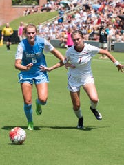 Florida State junior midfielder Dallas Dorosy (7) and North Carolina redshirt freshman forward Taylor Otto (6) battle for possession during Sunday's match.
