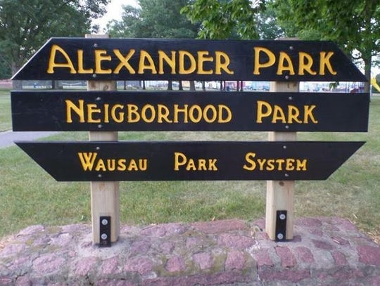 A photo of a misspelled Wausau Park System sign posted