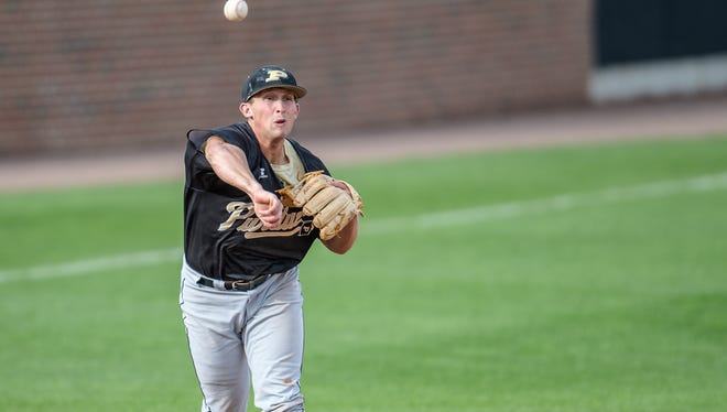 Purdue baseball infield Logan Poisall, shown here during the team's fall intrasquad series, lost his father on the same day he learned he had not been cleared by the NCAA. He missed the start of Purdue's season-opening trip to Texas State but returned to hit a pinch double and a home run in his first two at-bats.