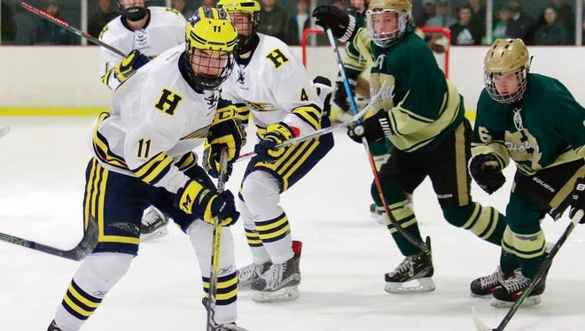 Hartland's Gabe Anderson (11) had two goals and one assist in a 9-1 victory over Howell Wednesday night.