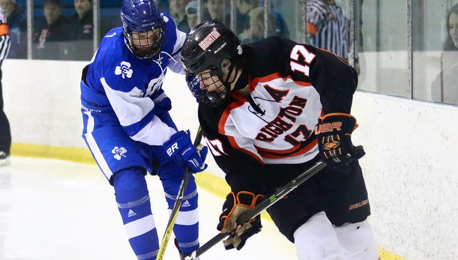 Adam Conquest (17) is Brighton's leading scorer heading into the state Division 1 hockey semifinals against Detroit Catholic Central.