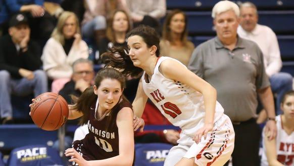 Rye's Amanda Latkany (10) drives on Harrison's Ashley