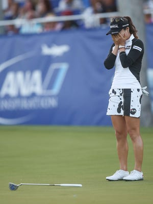 So Yeon Ryu reacts to sinking her biride putt and winning the ANA Inspiration in Rancho Mirage, April 2, 2017.