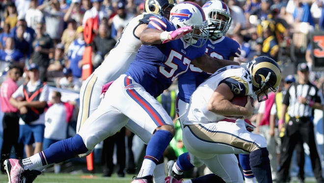 Lorenzo Alexander leads the NFL with nine sacks, a figure that ties his total from his first nine years in the NFL.