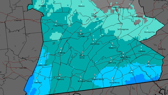 Snowfall predicted in the storm Monday night through Tuesday night.