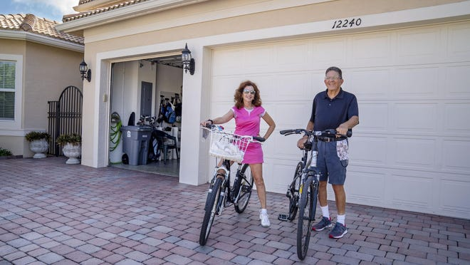 Myrna and David Ginsberg say they are always on their bikes since the coronavirus pandemic in Boynton Beach, Florida on May 21, 2020.