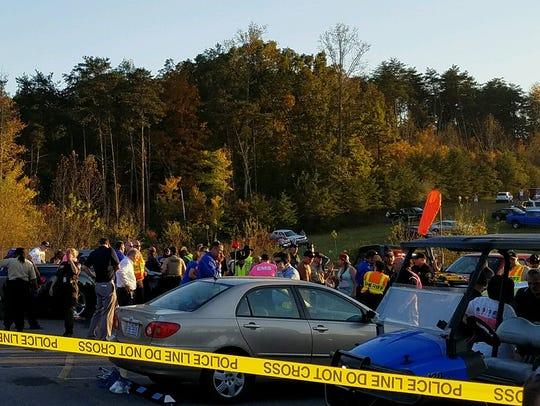 A vehicle struck pedestrians near the helipad at Martinsville