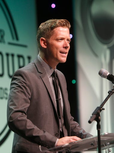 """Jeff Houghton, host of the """"Mystery Hour,"""" speaks during the 2016 Southwest Missouri Sports Awards at the Springfield Expo Center on Thursday, June 9, 2016."""