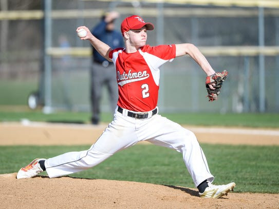 Annville-Cleona senior Alec Barr delivers a pitch during