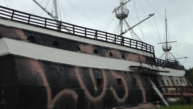 The Ship in Bonita Springs is starting to be repainted to cover the graffiti. The white paint was redone this morning.